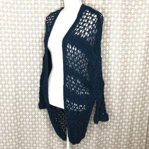 FREE PEOPLE Navy Open Crochet Cardigan Knit Small